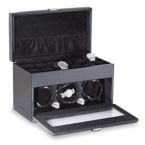 "3 Watch Winder w/ Storage ""Carbon Fiber"" Finish"