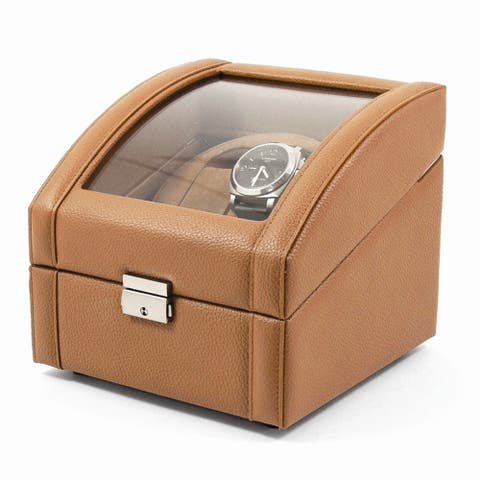 Watch Winders by Versil Tan Leather Glass Top Dual Watch Winder