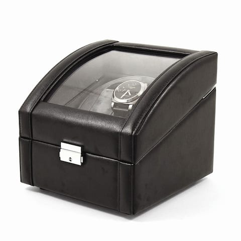 Two Watch Winder Black Leather Glass Top Dual Lock and Key Watch Winder