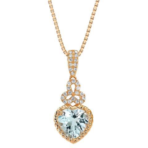 14K Rose Gold Aquamarine and Lab Grown Diamond Pendant, 2.20 Carats