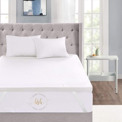 """3"""" Inch Memory Foam Mattress Topper With Removable Bamboo Cover"""