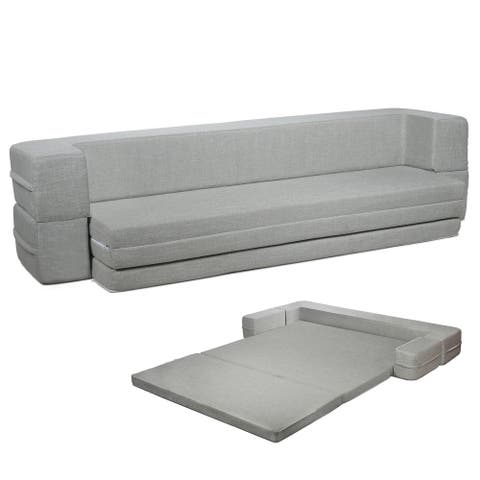 Milliard Daybed Sofa Couch Bed Queen to Twin Folding Mattress (Queen-Twin) Fold Out