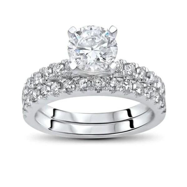 7mm Moissanite 3/5ct Diamond Engagement Ring Bridal Set 14k White Gold. Opens flyout.