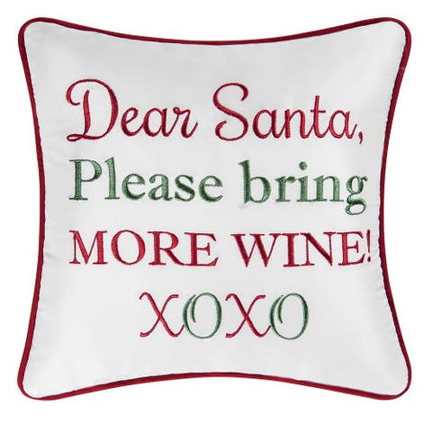 More Wine Embroidered Decorative Accent Throw Pillow