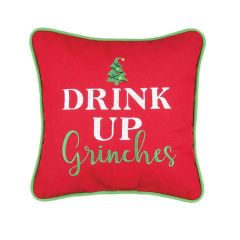 Drink Up Grinches Embroidered Decorative Accent Throw Pillow
