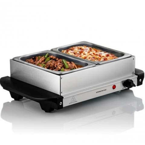 Ovente Electric Buffet Server Tray with 2 Stainless Steel Warming Pan