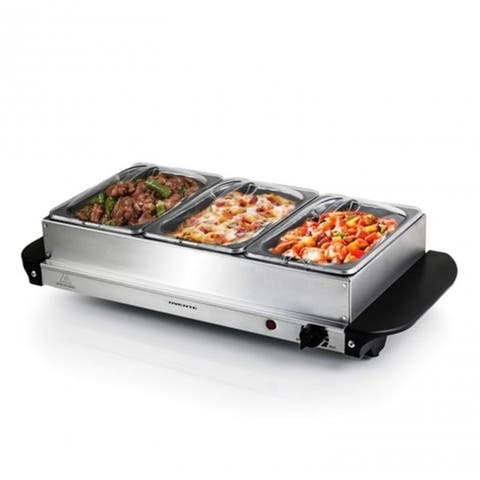 Ovente Electric Buffet Server and 3 Stainless Steel Warming Pans