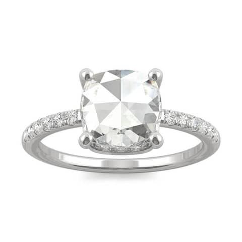 14k White Gold Moissanite by Charles & Colvard Rose Cut Engagement Ring 1.64 TGW