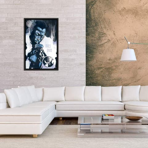 """iCanvas """"Miles Davis"""" by Elliot Griffin Framed Gallery-Wrapped Canvas Print"""