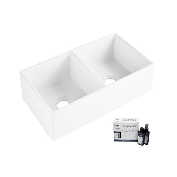 Brooks II Farmhouse Fireclay 33 in. 50/50 Double Bowl Kitchen Sink in Crisp White and Fireclay Care IQ Kit