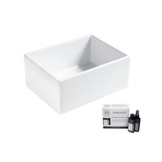 Wilcox II Farmhouse Fireclay 24 in. Single Bowl Kitchen Sink in Crisp White and Fireclay Care IQ Kit