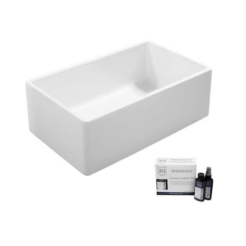 Ward Farmhouse Fireclay 33 in. Single Bowl Kitchen Sink in Crisp White and Fireclay Care IQ Kit