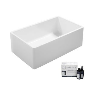 Ward Farmhouse Fireclay 33 in. Single Bowl Kitchen Sink in Crisp White and Fireclay Care IQ Kit