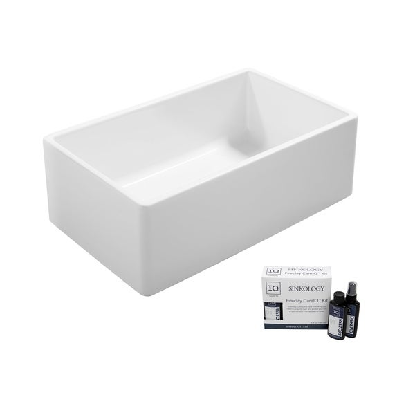 Ward Farmhouse Fireclay 33 in. Single Bowl Kitchen Sink in Crisp White and Fireclay Care IQ Kit. Opens flyout.