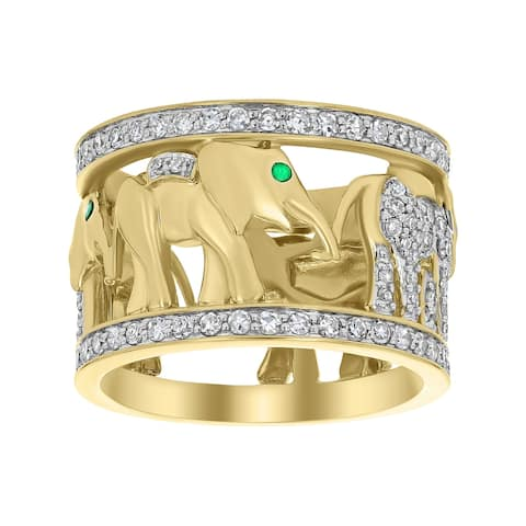 14k Yellow Gold 1 1/10 TDW Diamond and Tsavorite Elephant Wide Eternity Band by Beverly Hills Charm