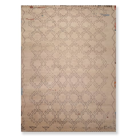 Hand Knotted Wool & Bamboo Silk Oriental Area Rug Traditional Moroccan (9'x12') - 9' x 12'