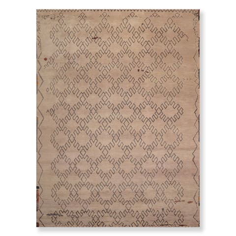 Hand Knotted Wool & Bamboo Silk Oriental Area Rug Contemporary Moroccan Designer (9'x12') - 9' x 12'