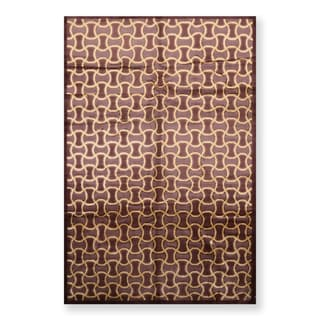 Contemporary Hand Knotted Wool & Silk Tibetan Oriental Area Rug (6'x9') - 6' x 9'