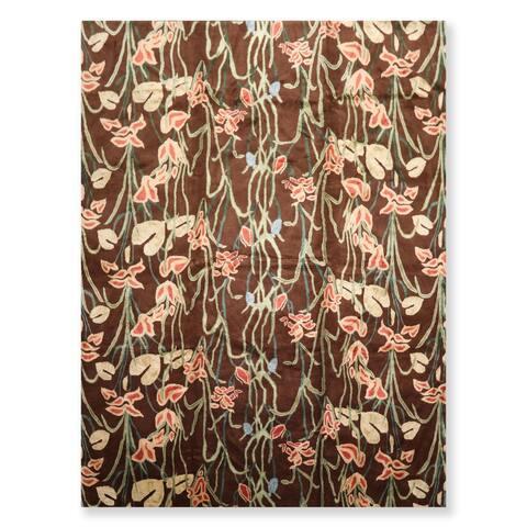 Tropical Print Hand Knotted Wool & Silk Tibetan Oriental Area Rug (9'x12') - 9' x 12'