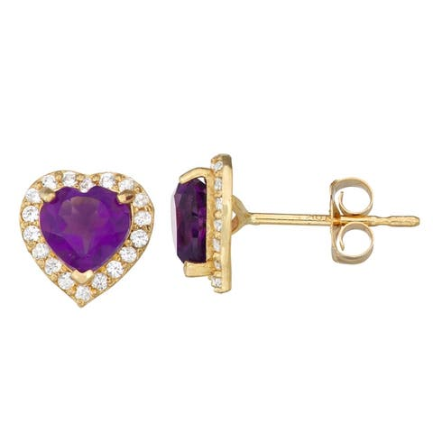 10kt gold genuine and lab created gemstone earrings