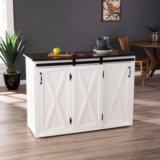 The Gray Barn Livendale White Kitchen Island w/ Storage