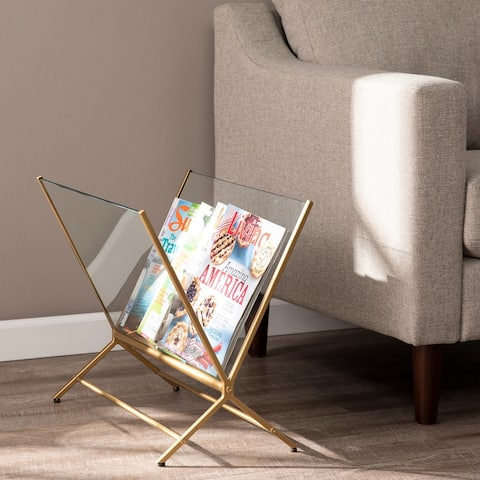 Silver Orchid Norster Contemporary Brass Metal Magazine Holder Rack