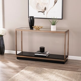 Strick & Bolton Luna Transitional Champagne Metal Console Table