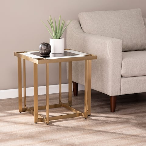 Silver Orchid Mattison Contemporary Gold Metal End Table