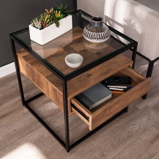 Carbon Loft Opsten Industrial Brown Wood End Table