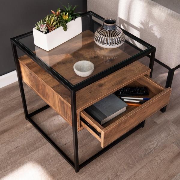 Carbon Loft Opsten Industrial Brown Wood End Table