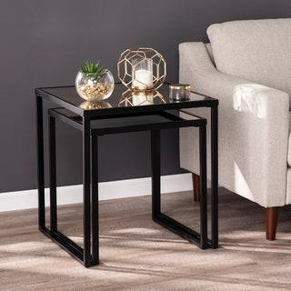 Silver Orchid Linesse Contemporary Mirror Mirror End Tables (Set of 2)