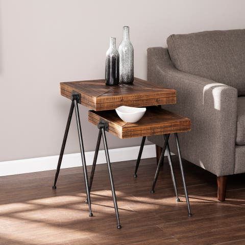 Carbon Loft Eivens Industrial Brown Wood Accent Table (Set of 2)