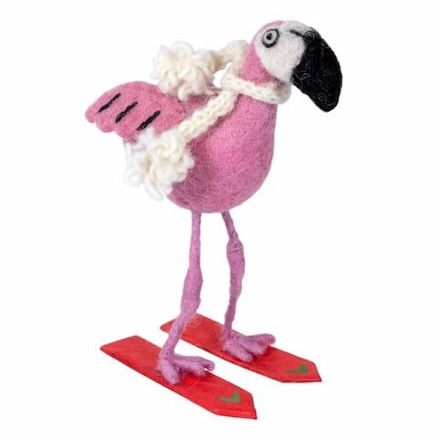 Handmade Felt Pink Flamingo Skiing Ornament (Nepal)