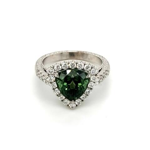 14K White Gold 3.83ct TGW Green Tourmaline and White Diamond Halo Ring