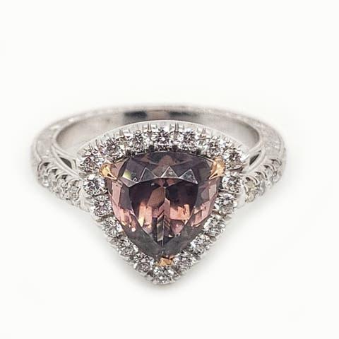 14K White Gold 3.19ct TGW Bi Color Tourmaline and White Diamond Halo Ring Size - 7