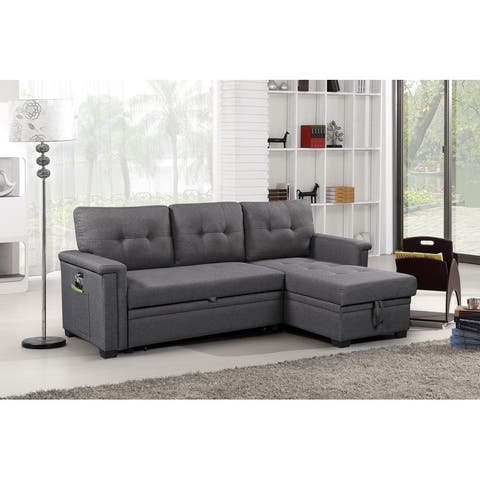 Ashlyn Reversible Sleeper Sofa Storage Chaise USB Charger and Pocket