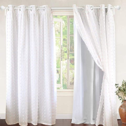 DriftAway Lily Pom Pom Sheer Blackout Window Curtain Grommet 2 Panels 52 Inch by 84 Inch