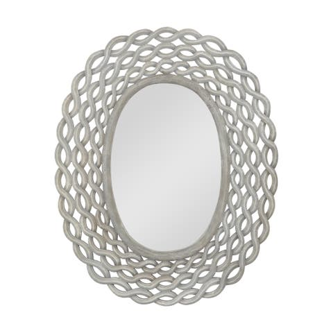 "Calabrese Modern Braided Weave Mirror by Christopher Knight Home - 28.00"" W x 0.75"" D x 35.50"" H"