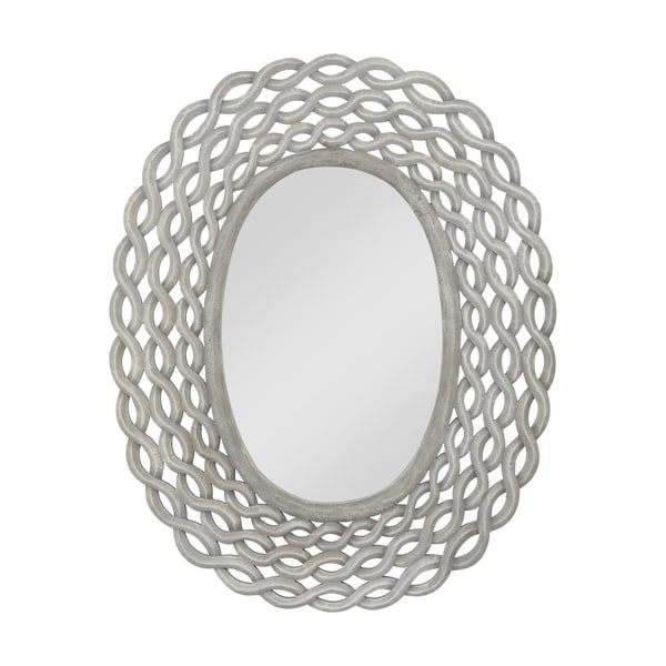 "Calabrese Modern Braided Weave Mirror by Christopher Knight Home - 28.00"" W x 0.75"" D x 35.50"" H. Opens flyout."