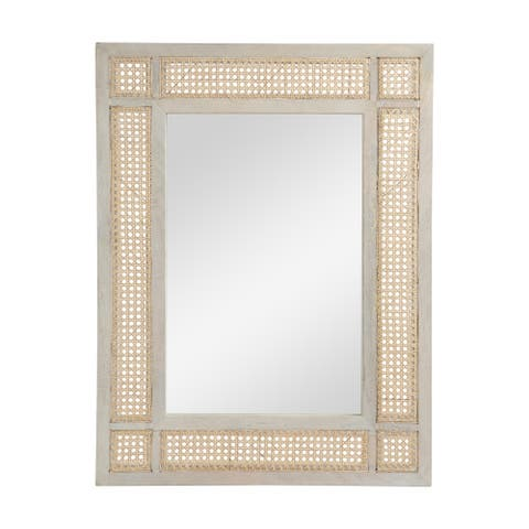 "Cavendish Boho Mirror with Wicker Caning by Christopher Knight Home - 26.75"" W x 1.00"" D x 35.50"" H"