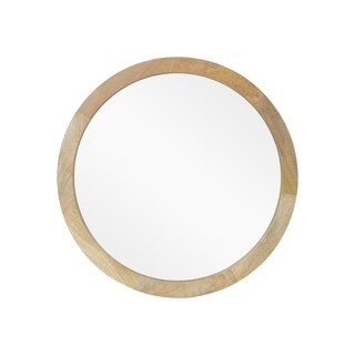 """Cheval Modern Round Mirror with Mango Wood Frame by Christopher Knight Home - 23.50"""" W x 1.25"""" D x 23.50"""" H"""