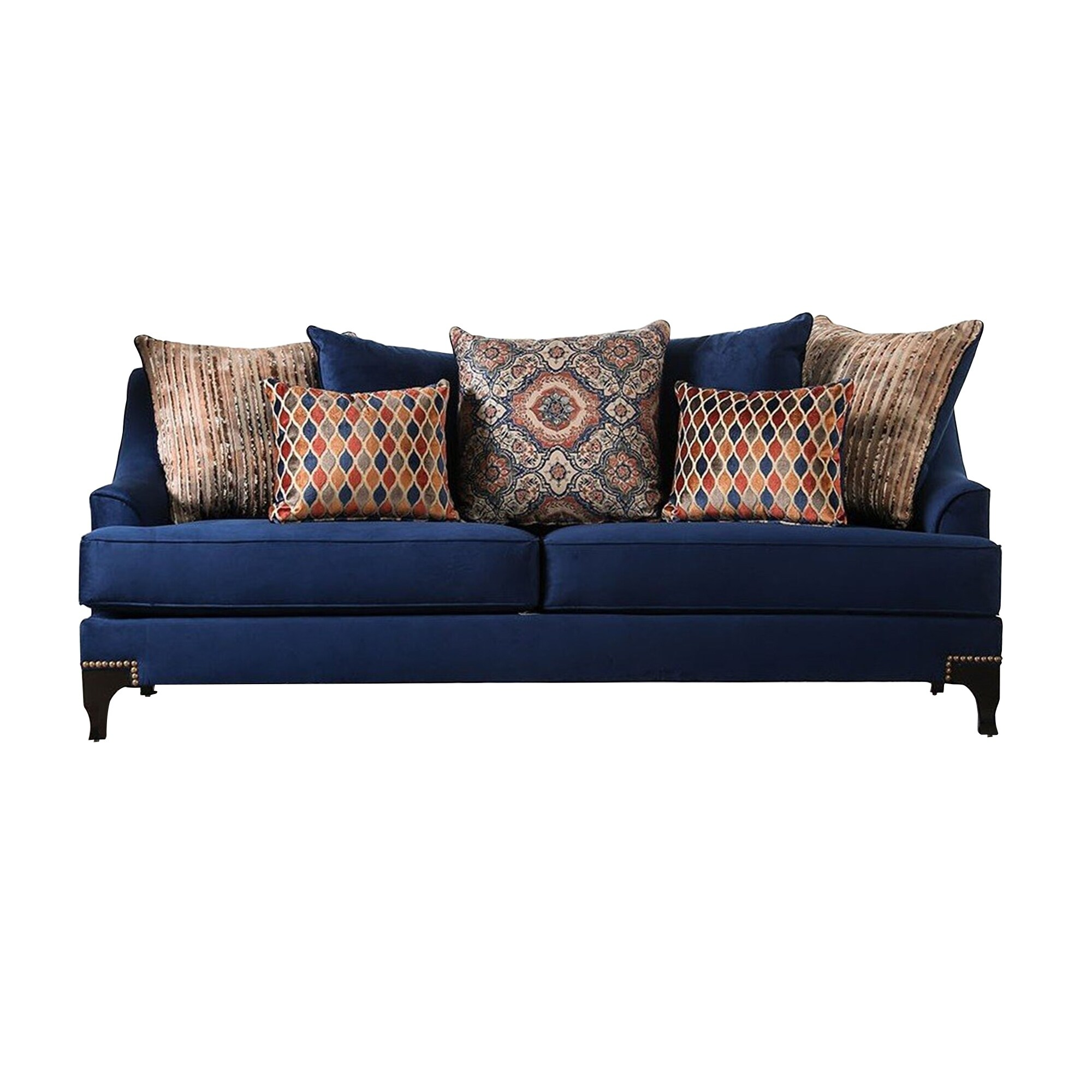 Image of: Shop Black Friday Deals On Wood And Chenille Fabric Upholstered Sofa With Throw Pillows Blue On Sale Overstock 30148438