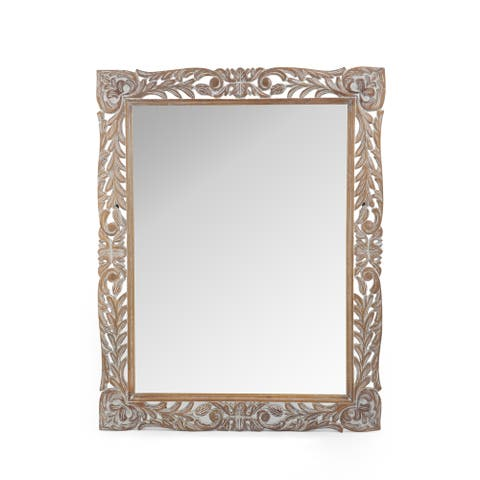"""Gedney Traditional Mirror with Floral Carved Frame by Christopher Knight Home - 37.00"""" W x 1.30"""" L x 46.50"""" H"""