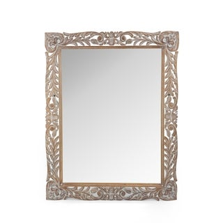 """Link to Gedney Traditional Mirror with Floral Carved Frame by Christopher Knight Home - 37.00"""" W x 1.30"""" L x 46.50"""" H Similar Items in Decorative Accessories"""