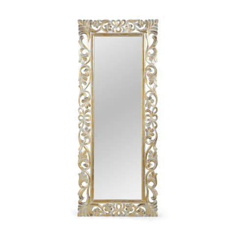 "Emerton Traditional Standing Mirror with Floral Carved Frame by Christopher Knight Home - 27.50"" W x 0.75"" L x 68.00"" H"