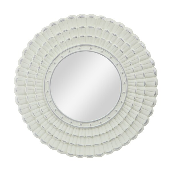 "Colby Modern Round Mirror with Carved Frame by Christpher Knight Home - 23.50"" W x 0.75"" L x 23.50"" H"