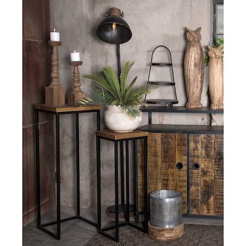 Carbon Loft Dixon Pedestal Plant Stand Tables (Set of 2)