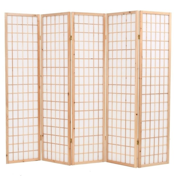 """Folding 5-Panel Room Divider Japanese Style 78.7""""x66.9"""" Natural"""