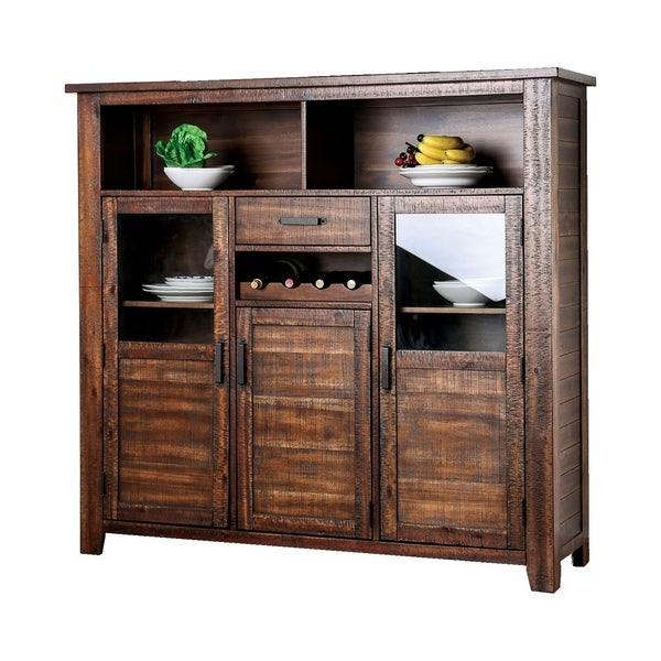 Wood and Glass Server Buffet with Storage Space and Wine Rack, Brown
