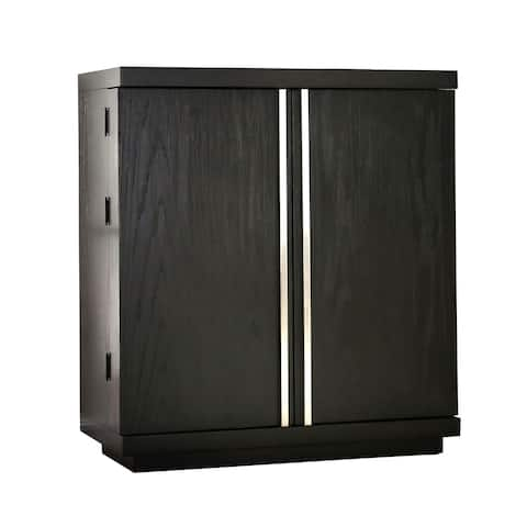 Wooden Server with 2 Drawers and 1 Bottom Shelf, Brown and Silver